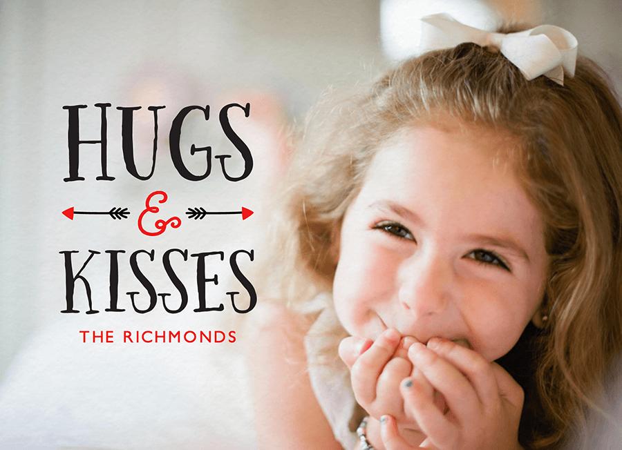 Hugs and Kisses Arrow Photo Vday Card