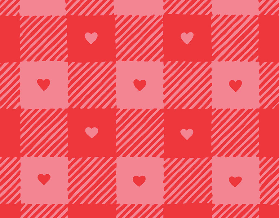 Gingham Heart Print Valentine Card