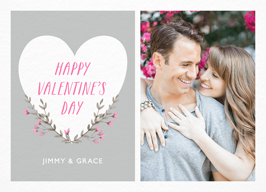 Gray Watercolor Floral Valentine Card