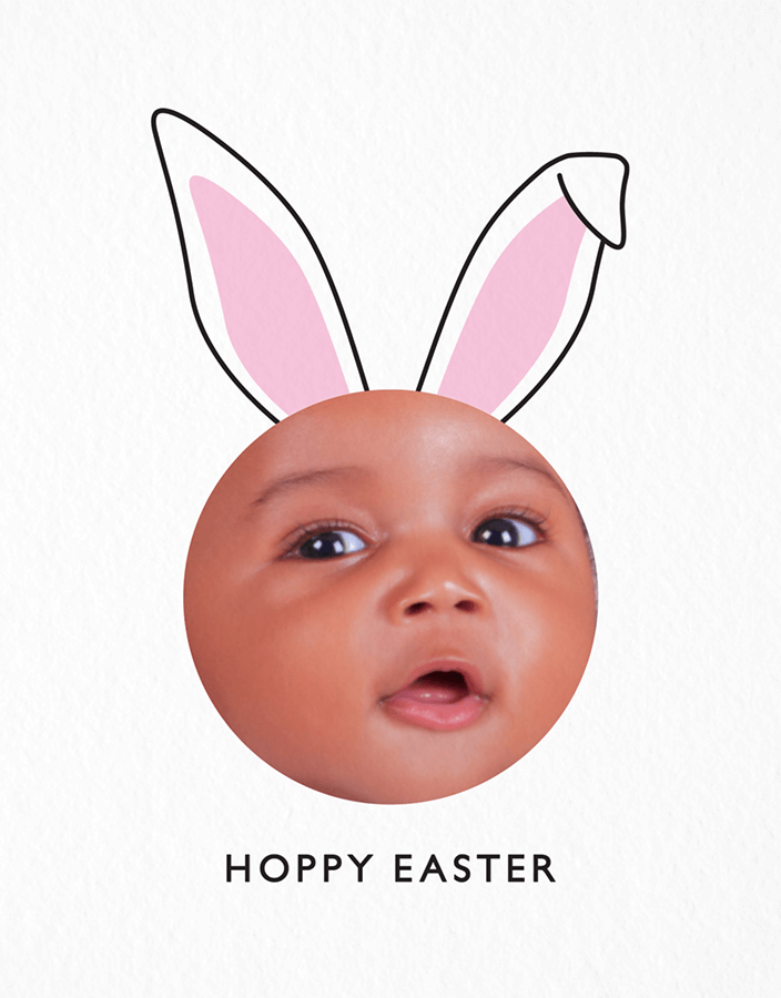 Photo Bunny Ears Easter Card