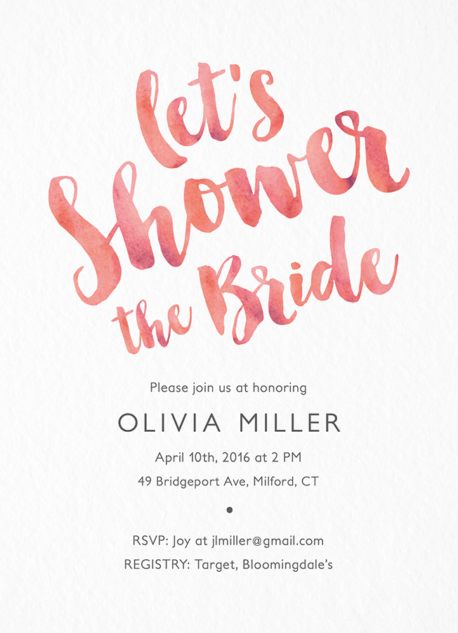 Pink Brush Bridal Shower Invite