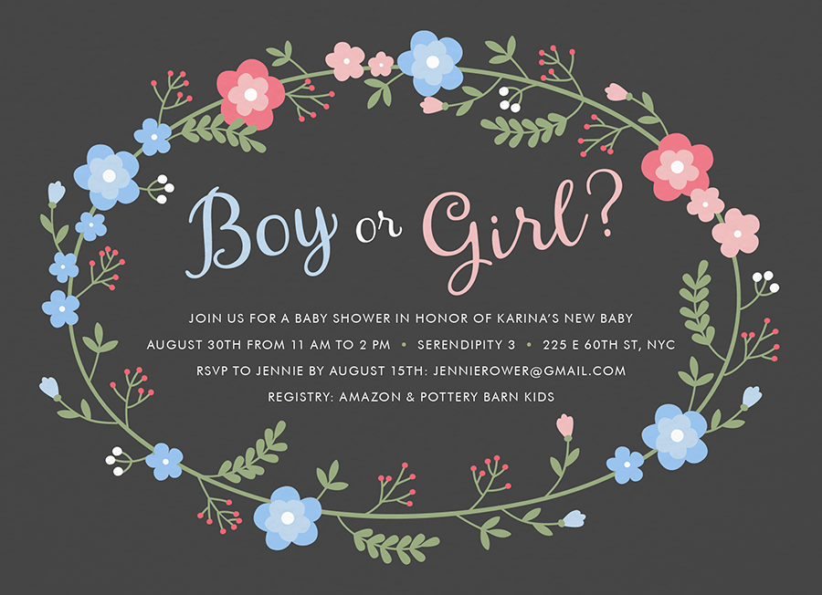 Boy or Girl Wreath Baby Shower Invite