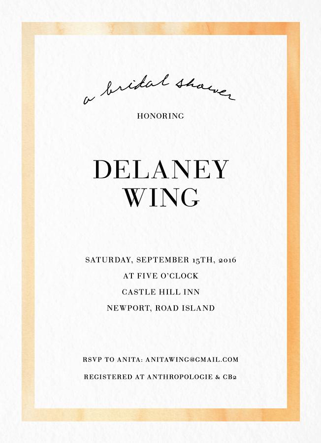 Watercolor border Bridal Shower Invite