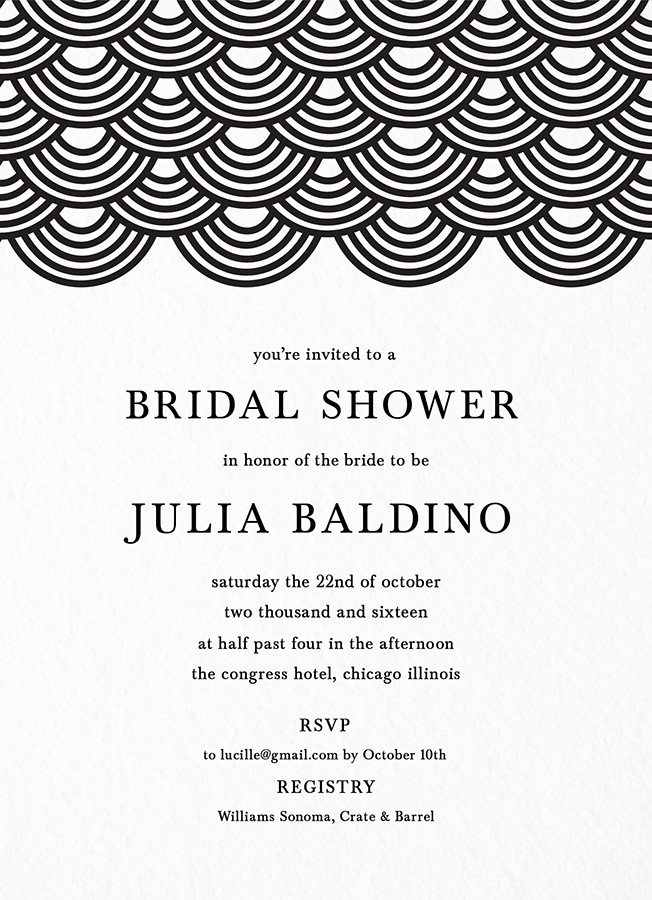 Wave Pattern Bridal Shower Invite