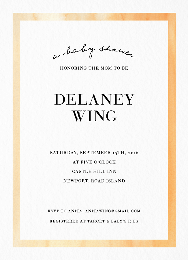 Watercolor border Baby Shower Invite