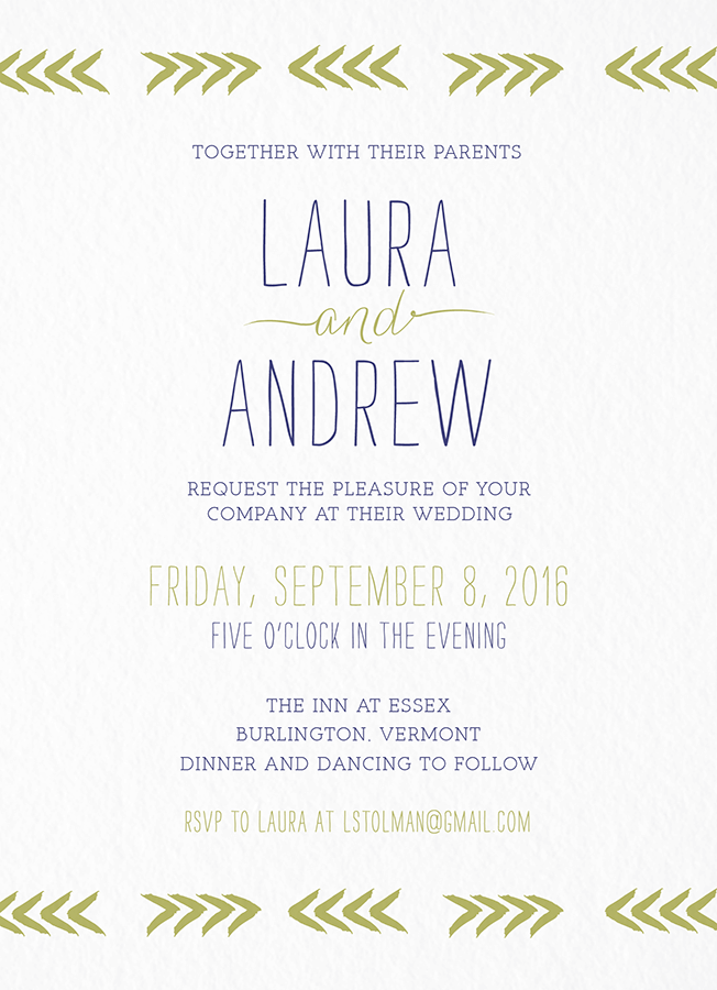 Chevron Brushstrokes Wedding Invitation
