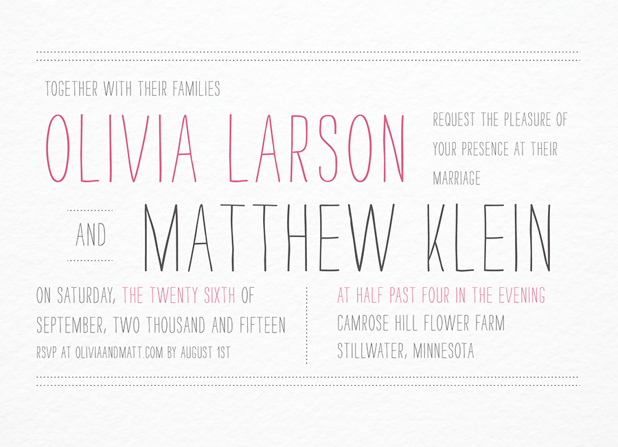 Thin Lettered Wedding Invite