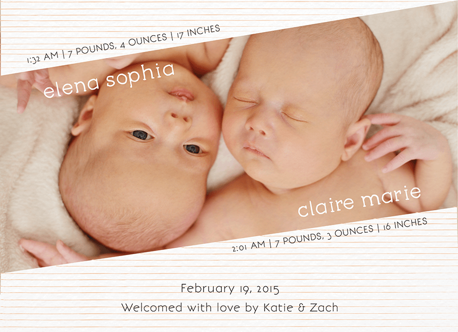 Peach Striped Custom Photo Twin Birth Announcement