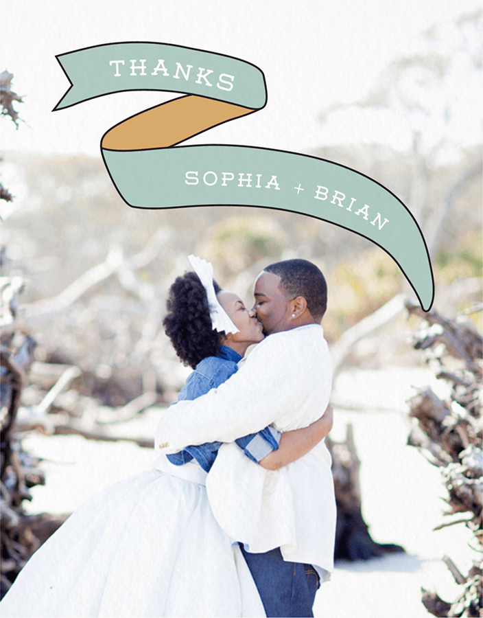Ribbon Custom Photo Wedding Thank You Card