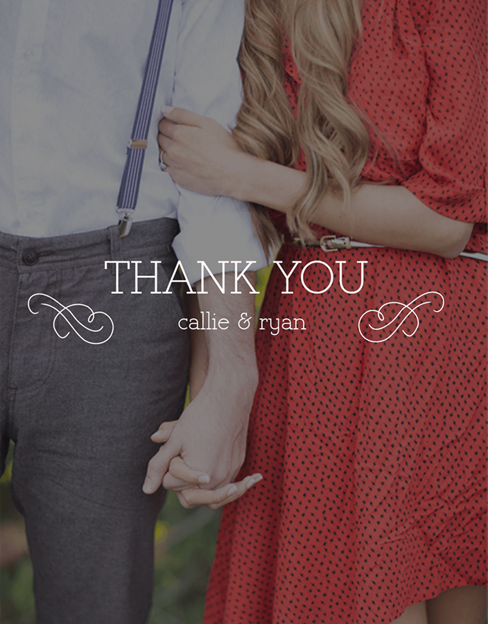 Swirly Photo Wedding Thank You Card