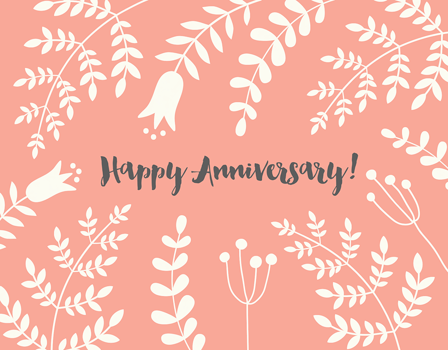Peach Branches Anniversary Card