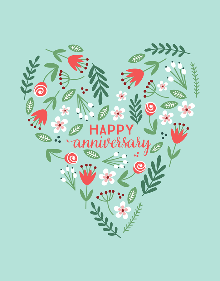 Floral Heart Anniversary Card