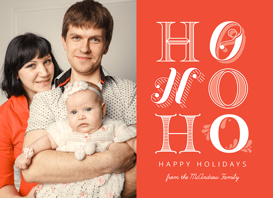 HO HO HO Mixed Type Holiday Card