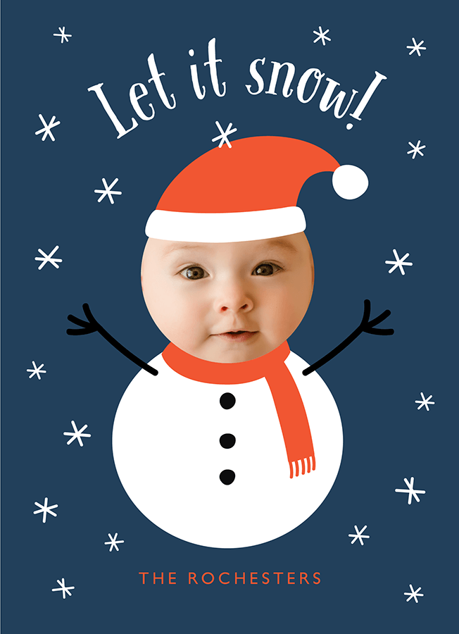 Baby Snowman Custom Photo Holiday Card