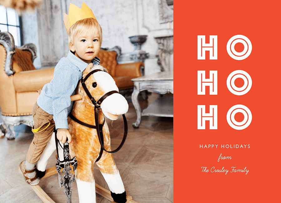 Simple Ho Ho Ho Photo Holiday Card