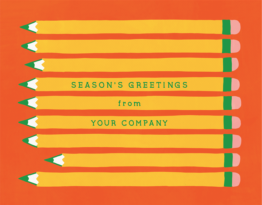 Hand Drawn Pencils Business Holiday Card