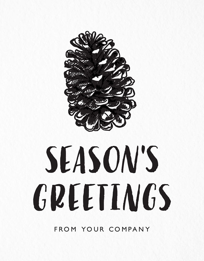 Sketched Pine Cone Company Seasons Greetings Card