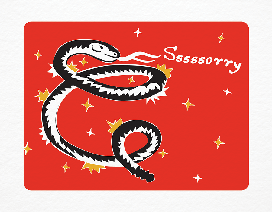 Red Snake Hiss Sorry Card with Stars