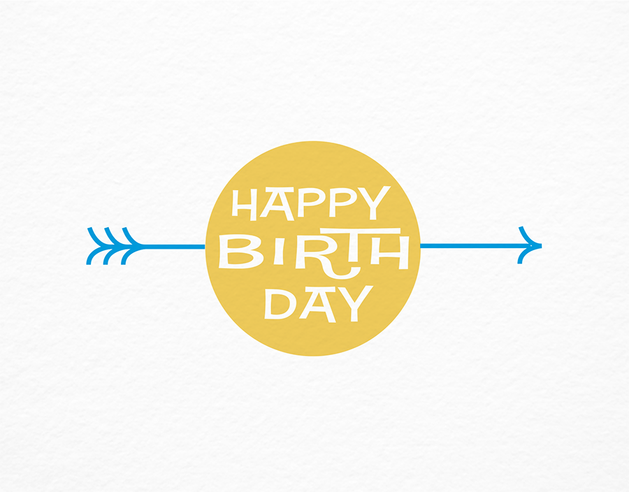 Retro Birthday Card with Arrow