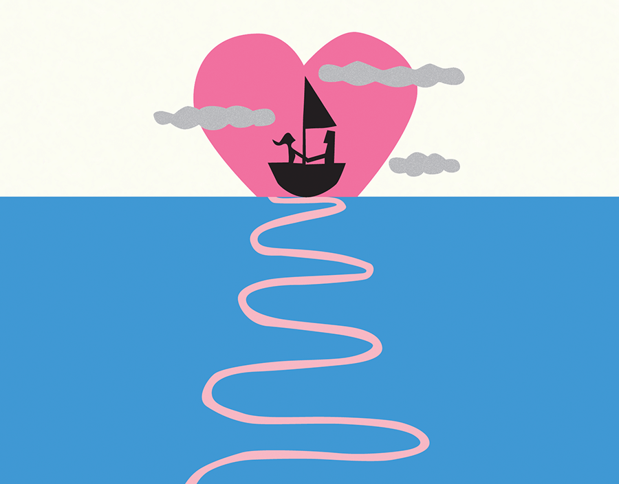 Sailboat Heart Valentine\'s Card