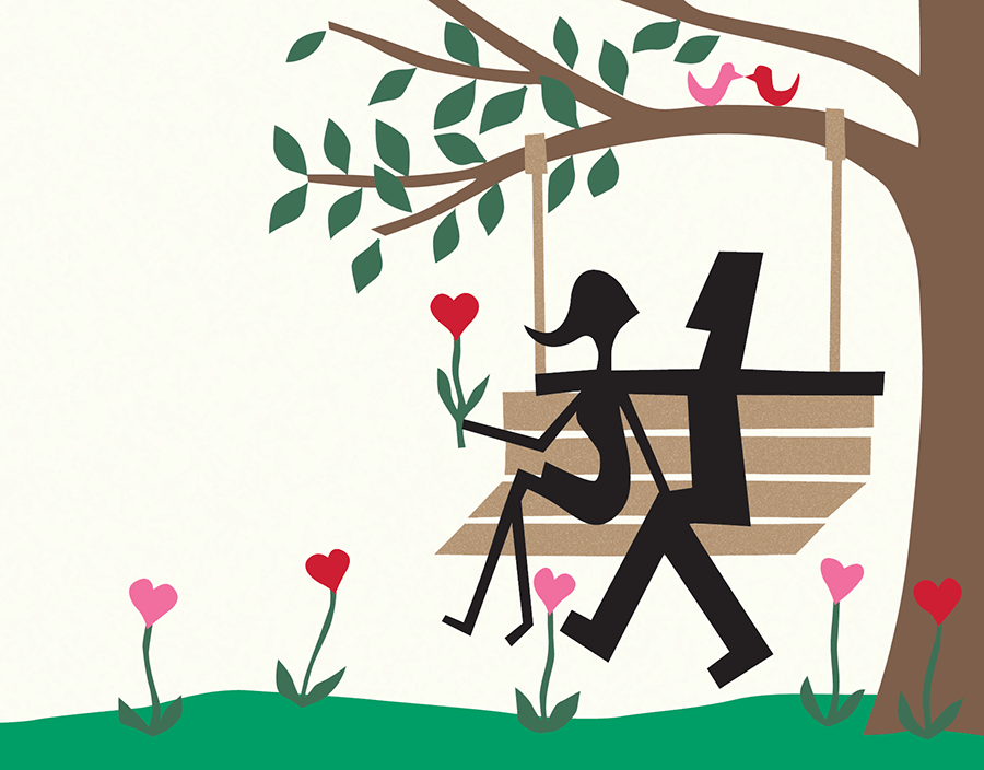 Couple on a Swing Love Card