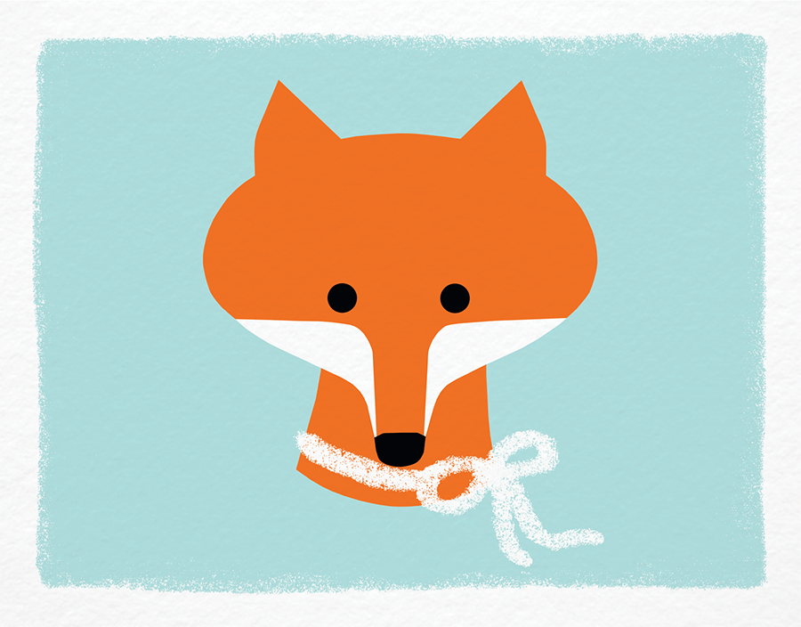 Fox with Bow Stationery