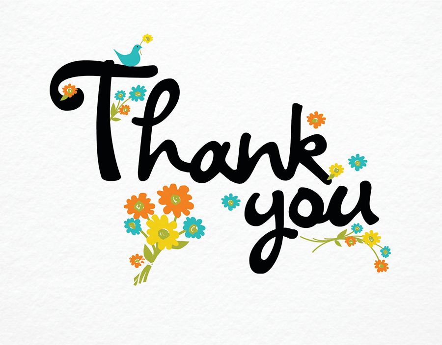 Cursive Thank You Card on White