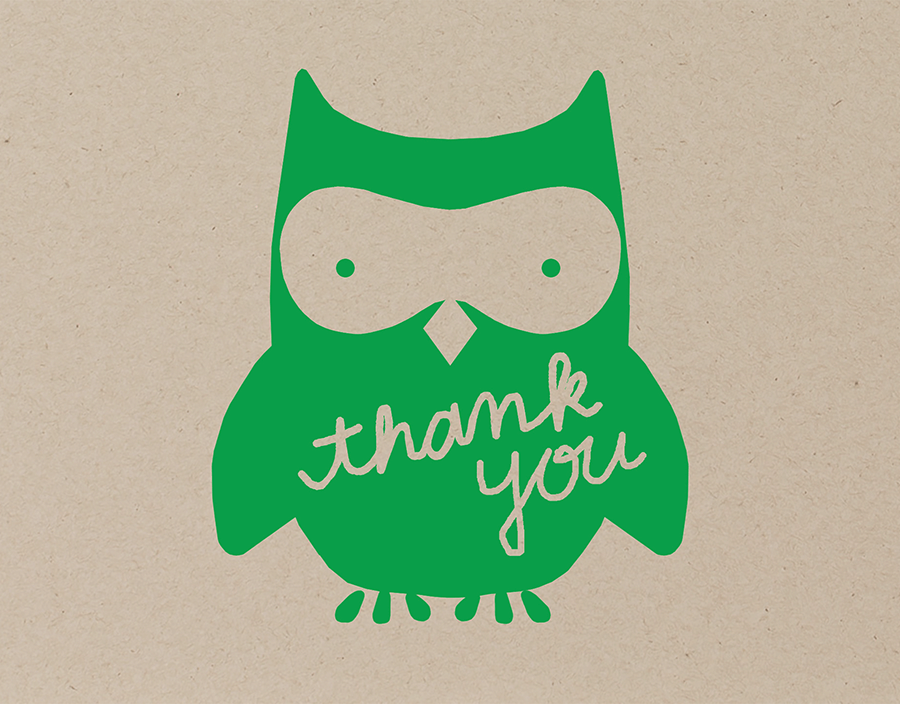 Green Owl Thank You Card