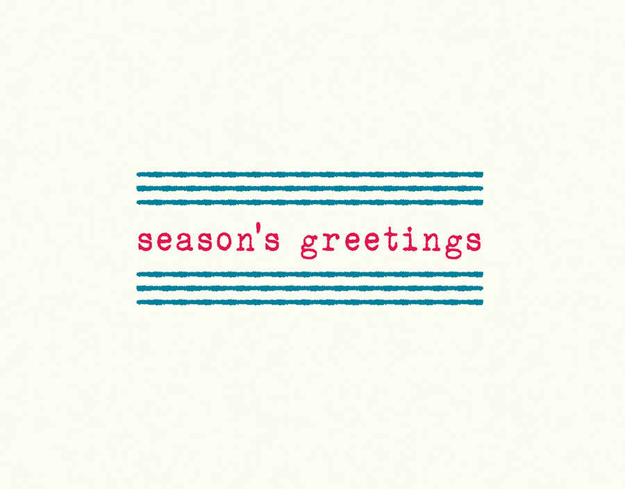 Season's Greetings Card with Stripes