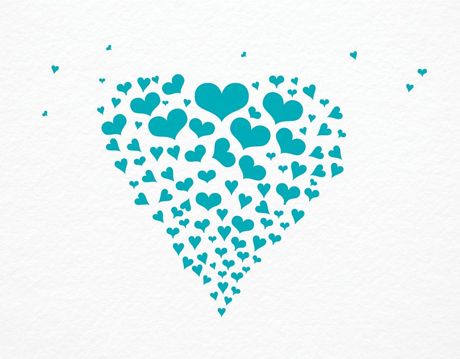 Blue Hearts Stationery