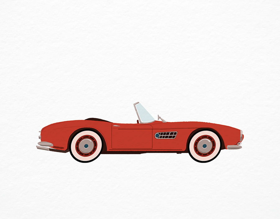 Vintage Car Cherry Red
