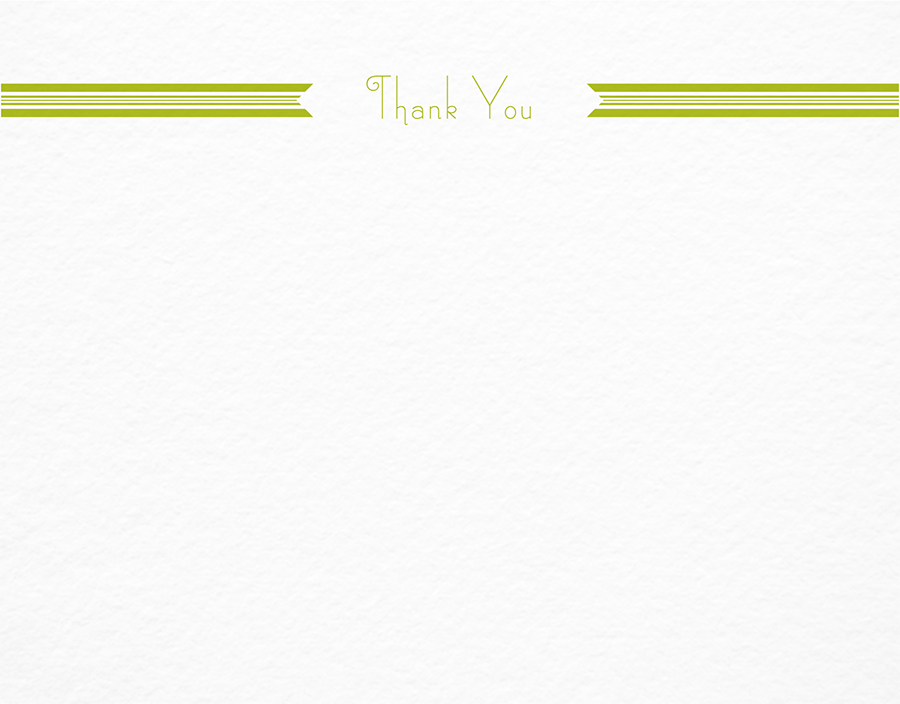 Green Ribbon Thank You Stationery
