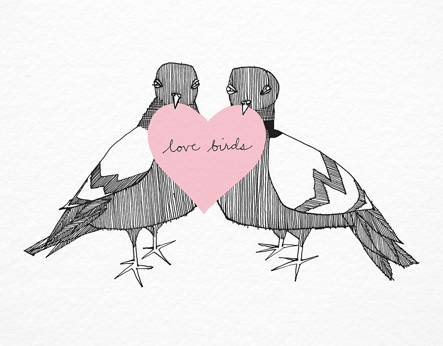Love Birds and heart Card