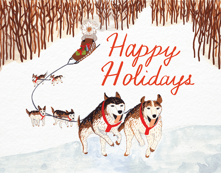 Dog Sled Winter Holiday Card