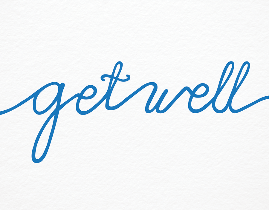 Blue Calligraphic Get Well Card