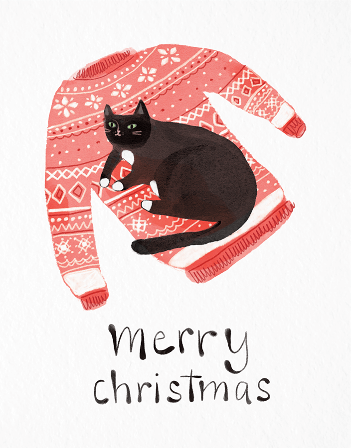 Cat Christmas Sweater by Susie Esse | Postable