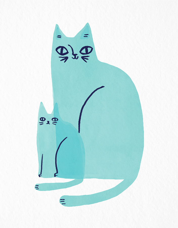 Cat Family Blue