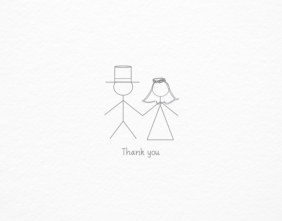 Stick Figure Newlyweds Thank You Card