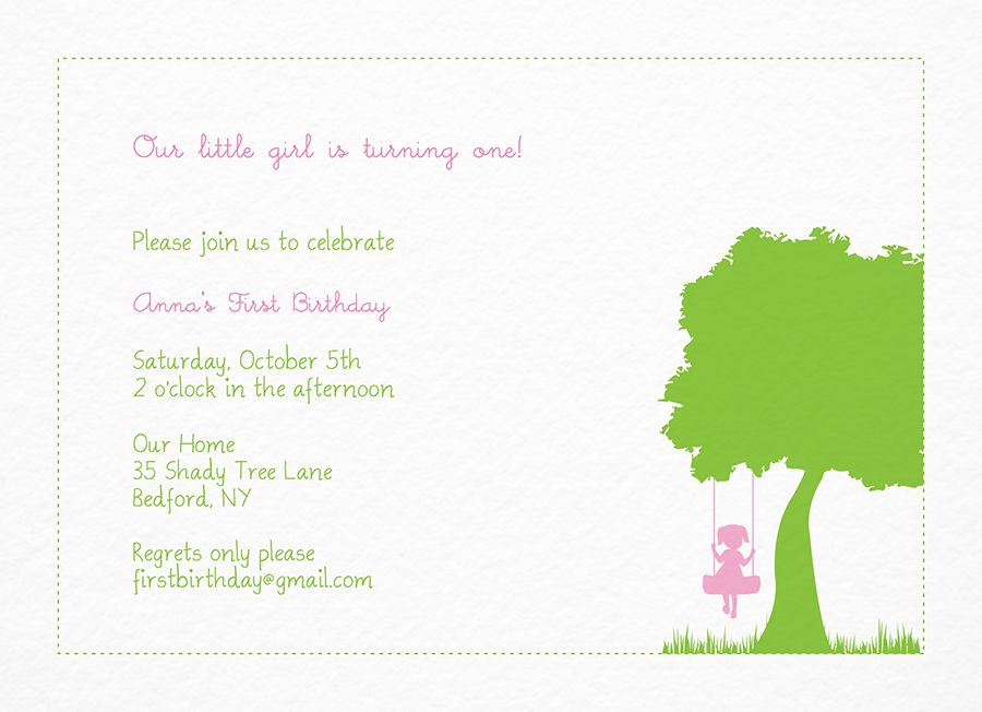 Pink and Green Birthday Invitation