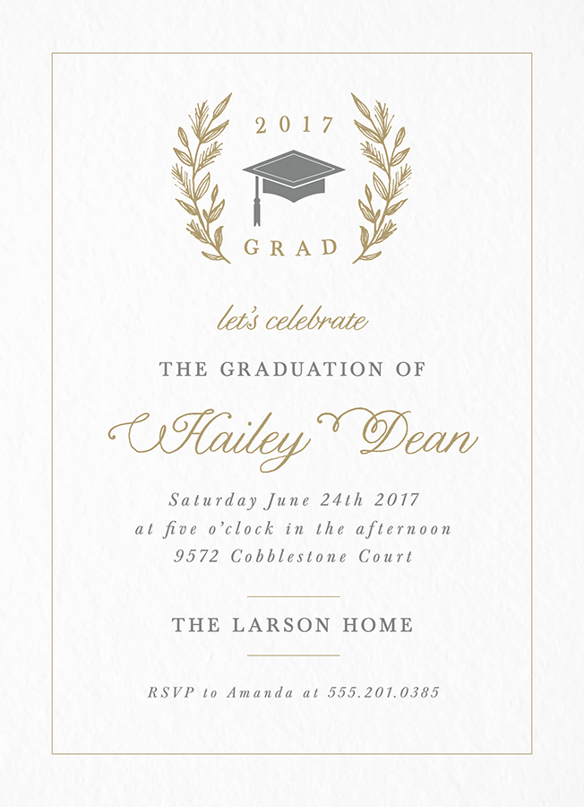 Laurel Graduation Invite