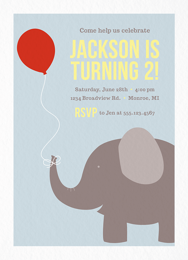 Elephant Birthday Party Invitation