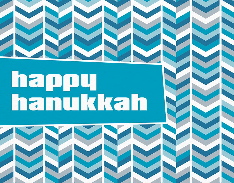 Retro Blue Chevron Hanukkah Card
