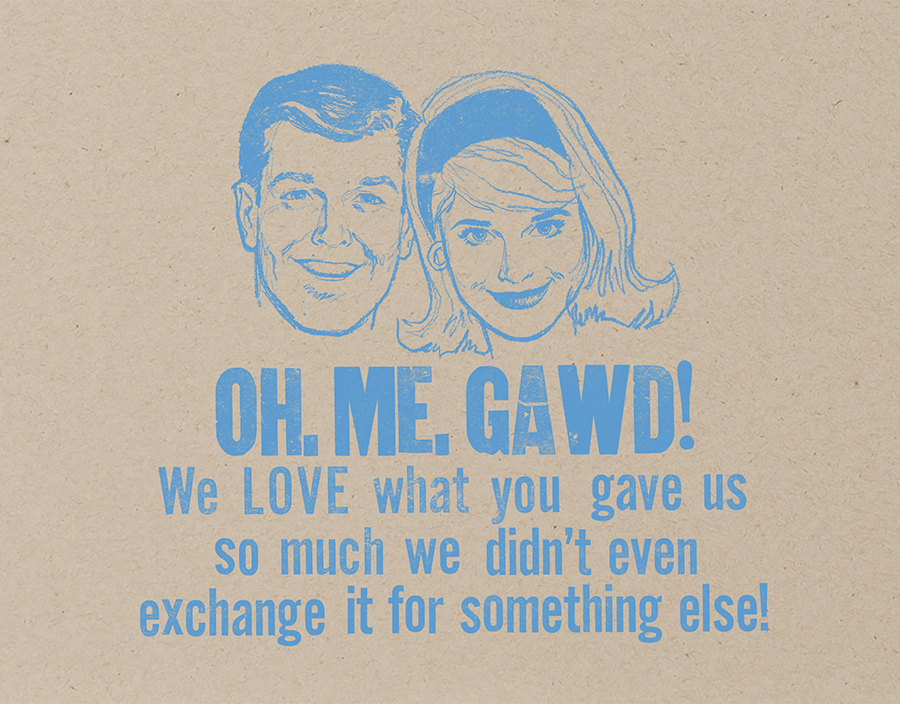 Retro Couple Thank You Card