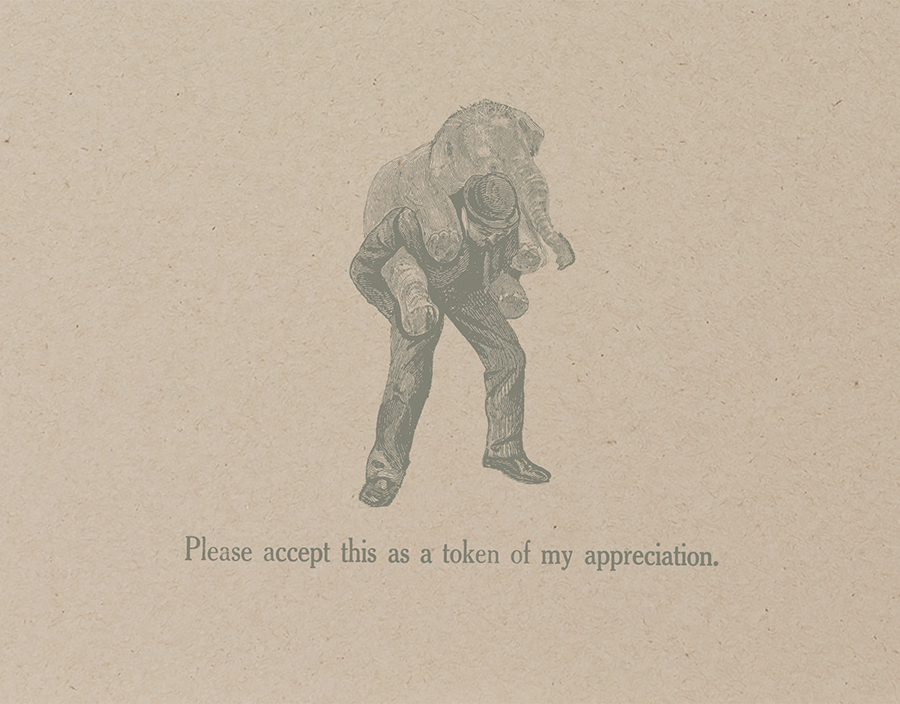 Vintage Elephant Thank You Card