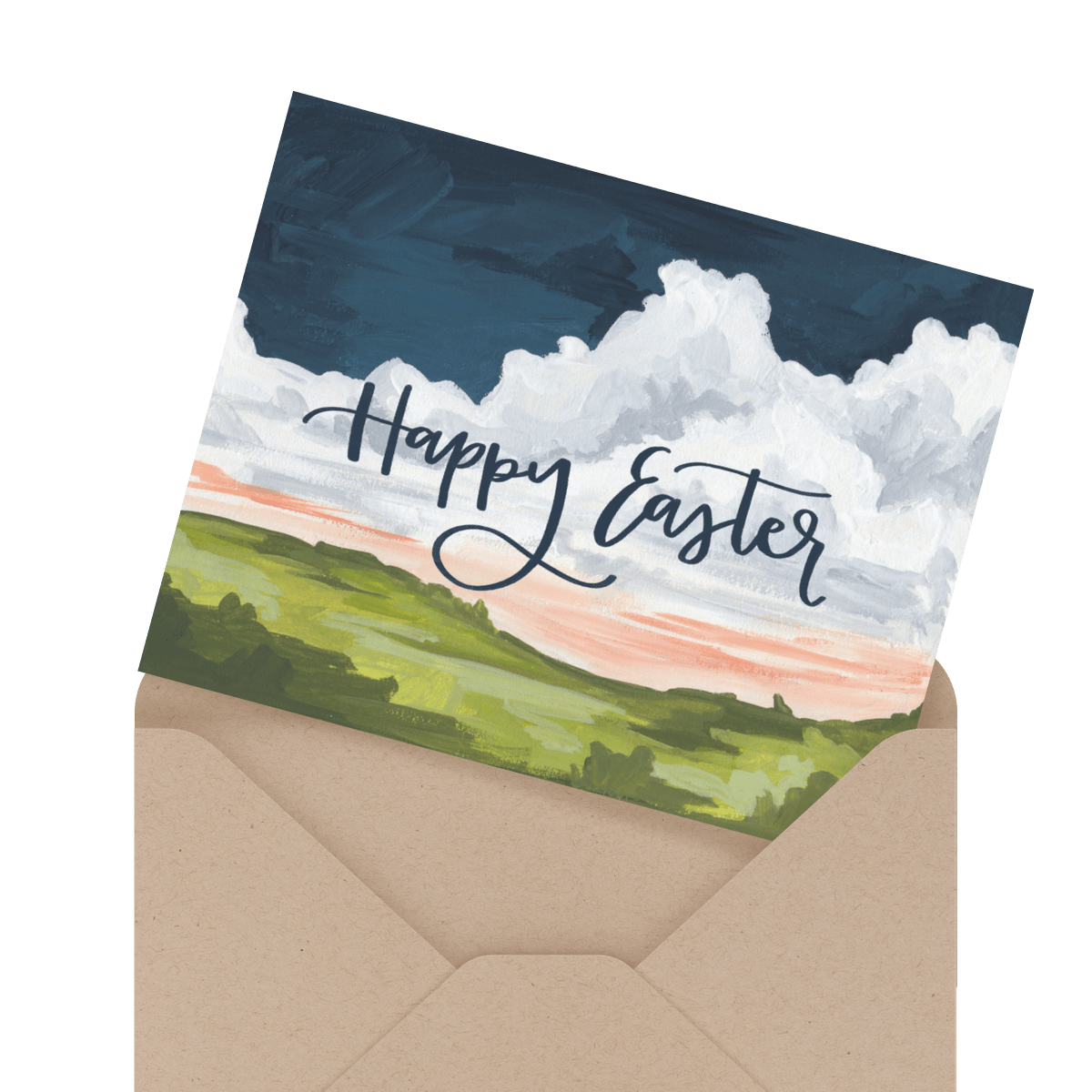 pastel floral happy easter card