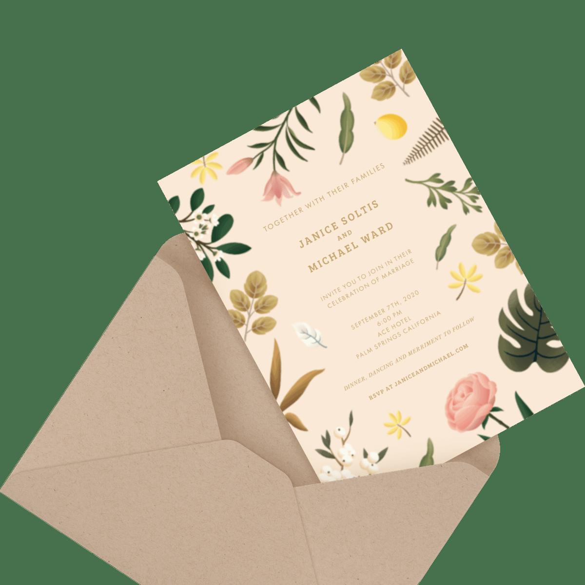 floral custom wedding invite in envelope