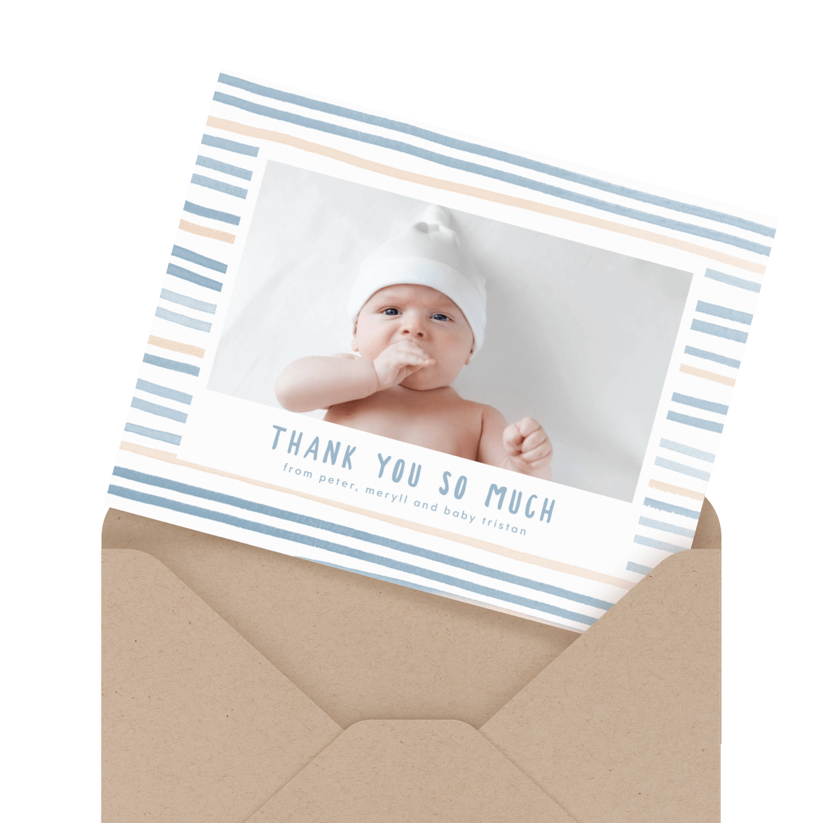 simple photo baby thank you card