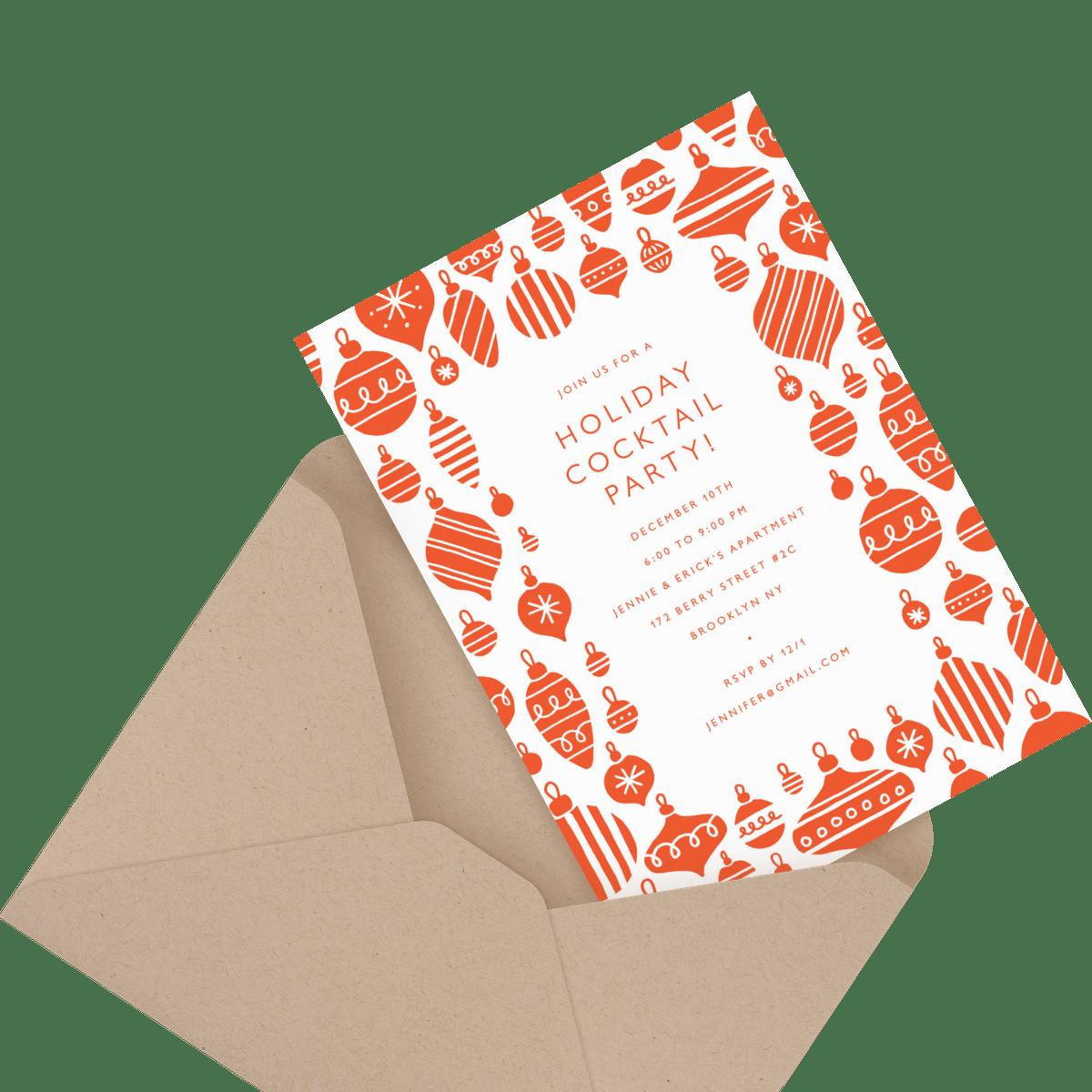charcoal custom invitation in envelope