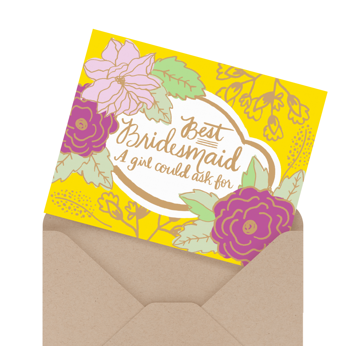 floral best bridesmaid greeting card