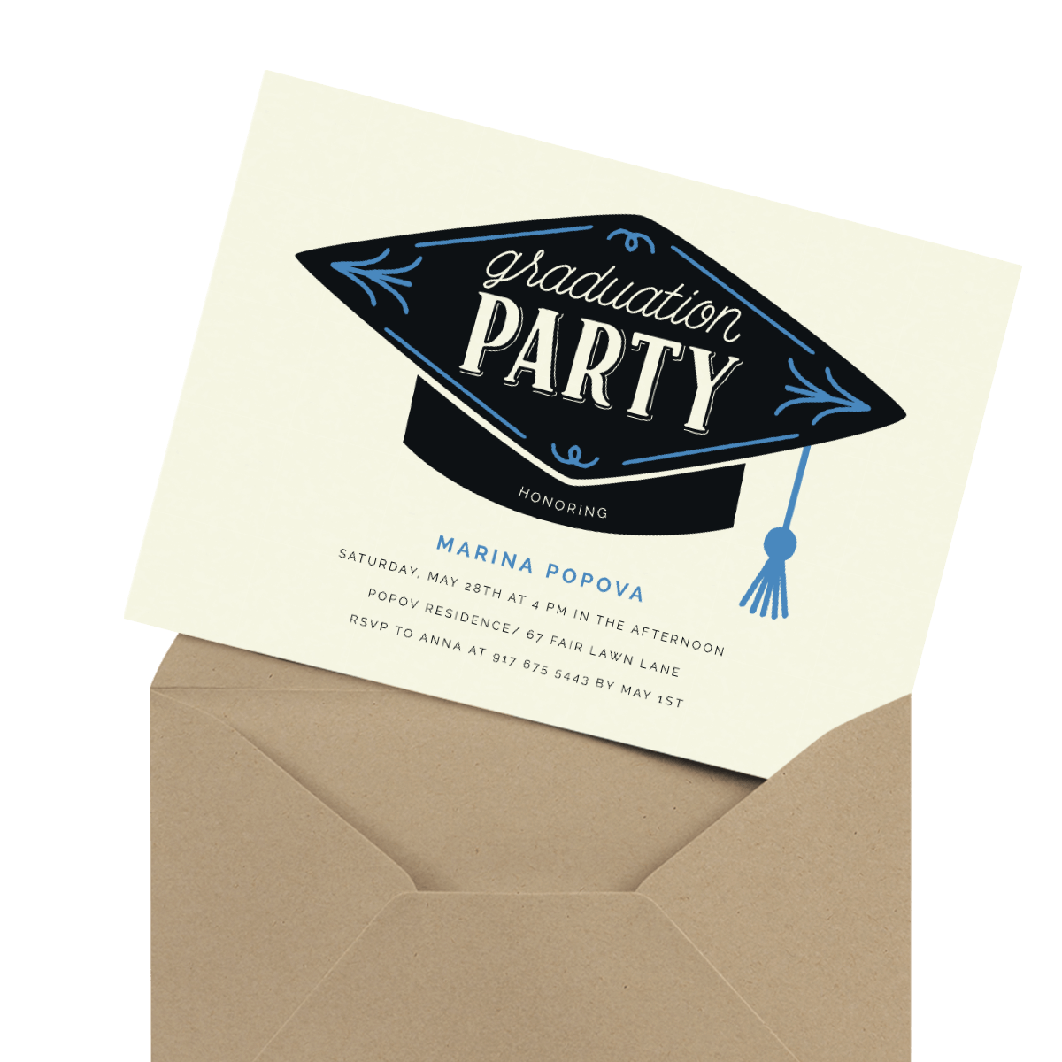 modern photo graduation party invitation